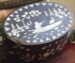 ANTIQUE VICTORIAN 1800's PAPER MACHE MOTHER OF PEARL INLAY ASIAN BOAT OV... - $34.99
