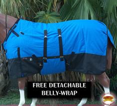 "66"" Hilason 1200D Winter Waterproof Poly Horse Blanket Belly Wrap Cobalt U-L-66 - $84.99"