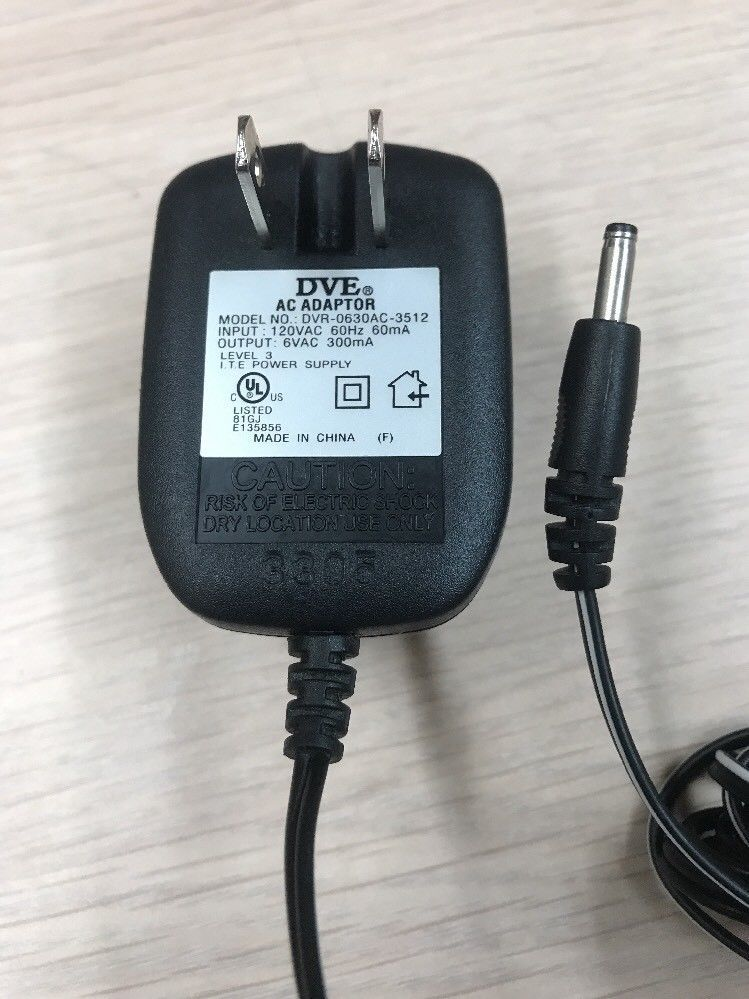 DVE DVR-0630AC-3512 AC Power Supply Adapter Charger Output: 6V 300mA          N4
