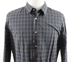 NWT John Varvatos Star USA Classic Plaid L/S Shirt MENS LARGE Black Cotton - $69.99