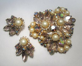 Stunning JULIANA D&E Purple Rhinestone Pearl Brooch & Clip Earrings Set CAR-5855 - $105.36