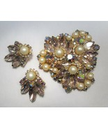 Stunning JULIANA D&E Purple Rhinestone Pearl Brooch & Clip Earrings Set ... - $105.36