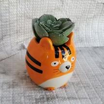 Tiger Animal Planter with Faux Succulent, Orange Cat Ceramic Plant Pot image 4