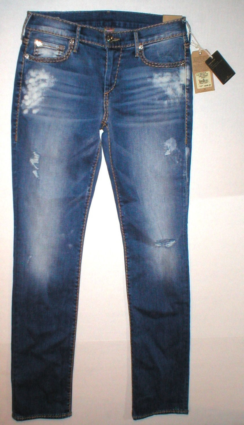New Womens True Religion Brand Jeans Cora Super T Crock Blue Tide 28 NWT USA