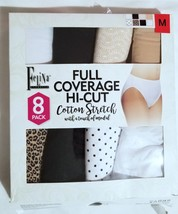 Felina 8 Pack Full Coverage Hi-Cut Cotton Stretch Underwear Panties NEW M L - $10.99