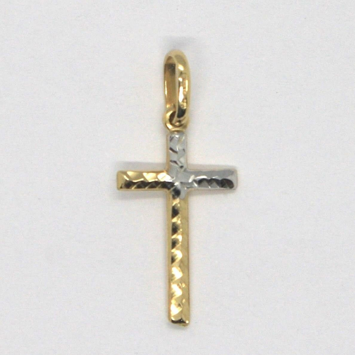Cross Pendant Gold Yellow White 18k, pipe, finely worked, Hammered