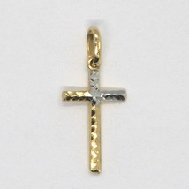 Cross Pendant Gold Yellow White 18k, pipe, finely worked, Hammered image 1