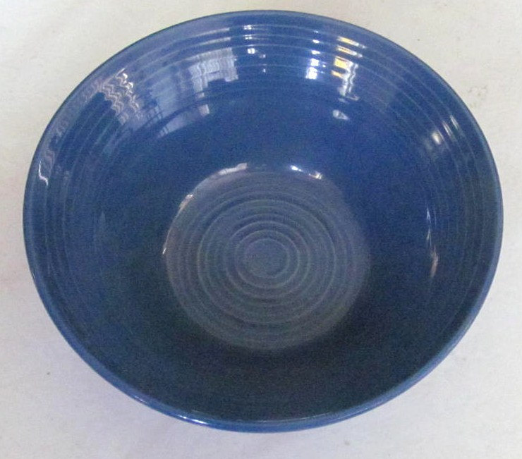 Hand Painted Blue Swirl Design Serving Bowl Stonemite