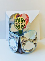 HotAir Balloon 3D Box Greeting Card, Handmade, All Occasion Opens to bo... - $6.00
