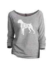 Thread Tank Boxer Dog Silhouette Women's Slouchy 3/4 Sleeves Raglan Sweatshirt S - $24.99+