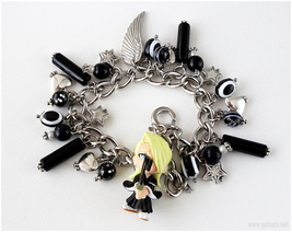 Bleach Izuru Kira Charm Bracelet, Black and White, Stainless Steel, Hand... - $41.00