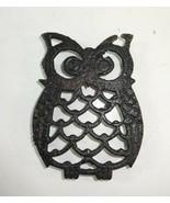 "Vintage Small Metal Cast Iron Horned Owl Trivet 4"" Black - $10.34"