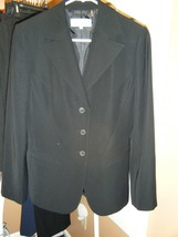 Calvin Klein Black Jacket Size 4 3 Button Front Slit Pockets Polyester - $26.72