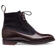Handmade Men's Brown Leather & Navy Blue Suede High Ankle Lace Up Boots image 1