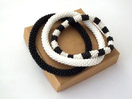 Nepal beaded rope bracelet set, roll on bangle black white, handmade gifts - $18.00+