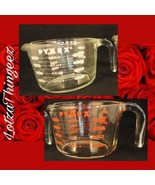 VTG Pyrex 2 Large - 4 Cup 32 Oz Red & White Lettering - $35.63