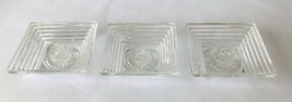 3 Square Manhattan Candle Holders Vintage Anchor Hocking Clear Glass w/ ... - $24.18
