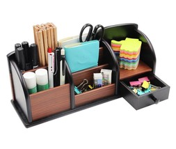 Wooden Desk Organizer Office Supplies Accessories Storage Drawer Tray Pe... - $20.45