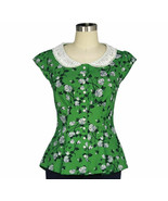 M 38 GREEN WHITE FLORAL EMPIRE WAIST COUTURE PEARL BUTTONS 50s PINUP PEP... - $47.00