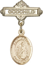 14K Gold Baby Badge with St. Aaron Charm and Godchild Badge Pin 1 X 5/8 inch - $446.25