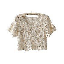Beach Favourite Shawl Capelet All-match Short Shirt Blouse, BEIGE