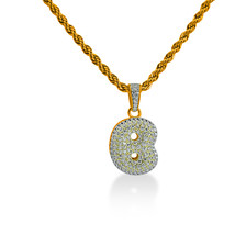 """925 Sterling Silver Gold Plated Custom Iced Out Bubble Letter """"B"""" with 24"""" Chain - $79.99"""