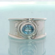 Sparkling Blue Zircon Solitaire Handtooled Sterling Silver Gents Ring si... - £44.98 GBP