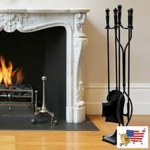 "Fireplace Tool Set 31"" 5 Pcs Hearth Fireplace Fire Tools Set Black Steel - $97.98"