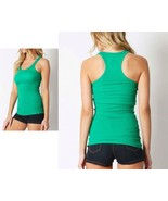 COTTON RIBBED RACERBACK TANK TOP Womens Fitness Sport Yoga Stretch Long ... - $10.88