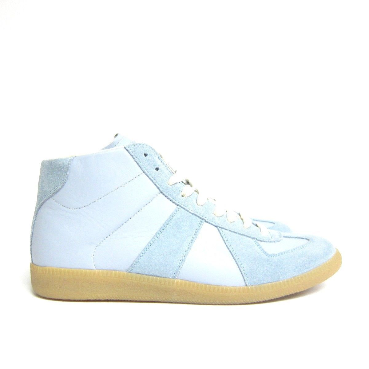 P-516261 New Martin Maison Margiela Blue Suede High Top Sneakers US 8 Marked 41