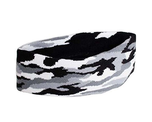 Camouflage Pattern Sports Yoga Hair Band Soft Cotton Thread Headband, GRAY