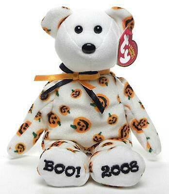 Carvers the Pumpkin Print Bear Boo! 2008 Ty Beanie Baby Retired MWMT Halloween