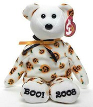 Carvers the Pumpkin Print Bear Boo! 2008 Ty Beanie Baby Retired MWMT Hal... - $19.75