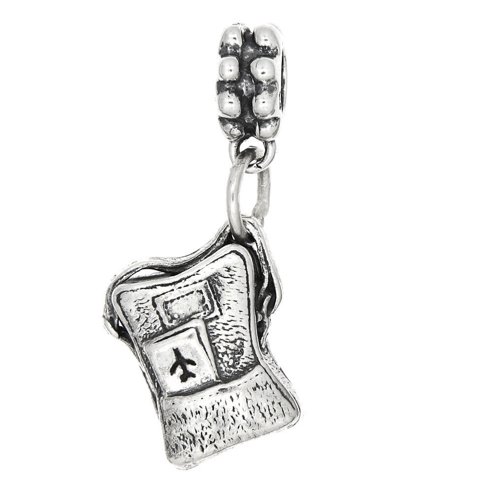 Sterling Silver Three Dimensional Airplane Travel Backpack Dangle Bead Charm