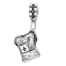 Sterling Silver Three Dimensional Airplane Travel Backpack Dangle Bead Charm - $30.43