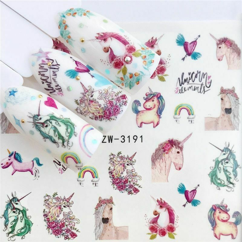 Primary image for Water Transfer Nail Stickers Decals Horse Flower Lavender Manicure Decor Tool