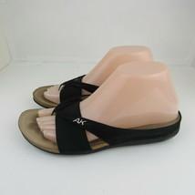 Ann Klein Sport Womens Sandals 7.5  Black Slides Strappy Elastic Suede S... - $14.01