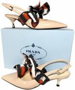 Prada Nude Pumps Patent Leather Slingbacks Ribbon Removable Bow Shoes 38.5  - $439.00