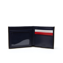 Men's Lacoste Slim Leather Credit Card Holder ID Slot Tricolor Accents NH2099ED image 3