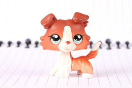 Littlest Pet Shop LPS figure  #1542 Brown Collie Dog Puppy Blue Eyes Rare - $8.90