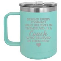 15oz Tumbler Coffee Mug Handle & Lid Travel Cup Gymnastics Coach Gift - $19.99