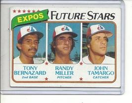 (B-3) 1980 Topps #680: Expos Future Stars - Bernazard, Miller, Tamargo - $1.00