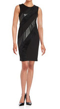 Calvin Klein Womens Faux Suede Leatherette Sleeveless Sheath Black Dress... - $56.83