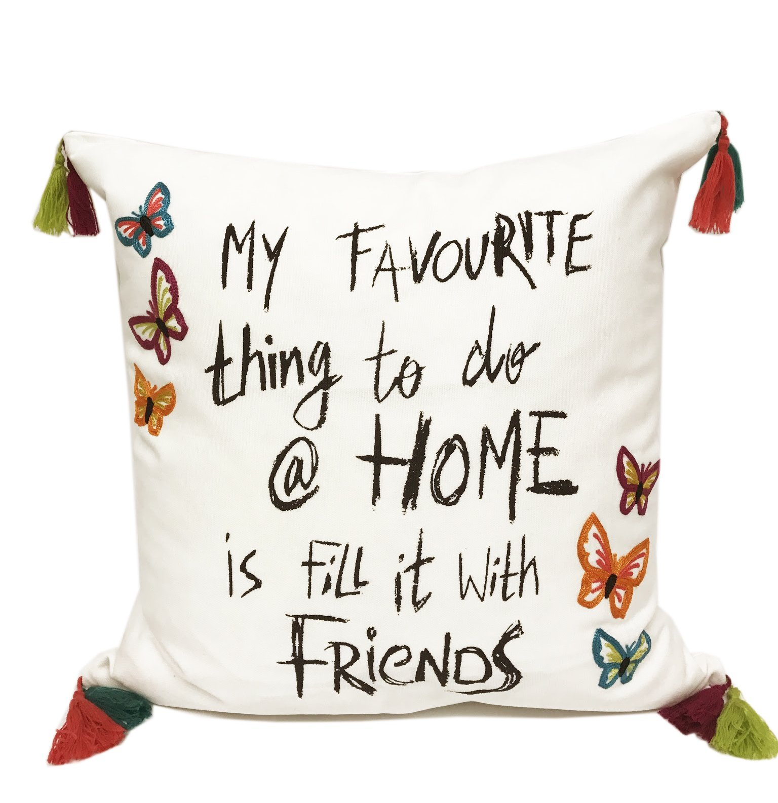 Fennco Styles Fun Inspirational Embroidered And Tasseled Decorative Throw Pillow