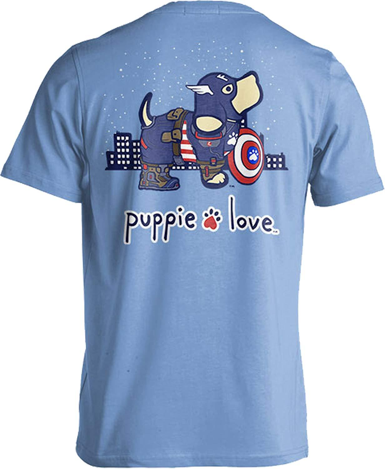 Puppie Love Rescue Dog Adult Unisex Short Sleeve Graphic T-Shirt, Super Hero Pup