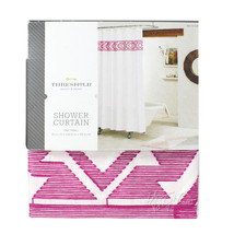 """NEW Threshold Fabric SHOWER CURTAIN Embroidered Pink Tribal 100% Cotton  72x72"""" - $34.99"""