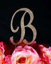 """Completely Covered Monogram Rhinestone Cake Topper - Large - Gold (4.75"""" Tall) ( - $19.55"""