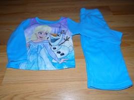 Size 2T Disney Frozen Queen Elsa Olaf Blue 2 Piece Sleepwear Set Flannel... - $12.00