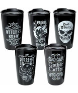 Alchemy Gothic Double Walled Travel Coffee Mugs Witches Purrfect Brew Go... - $22.00