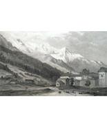SWITZERLAND Mont Blanc Swiss Alps - 1820 Antique Print by Major Cockburn - $26.96